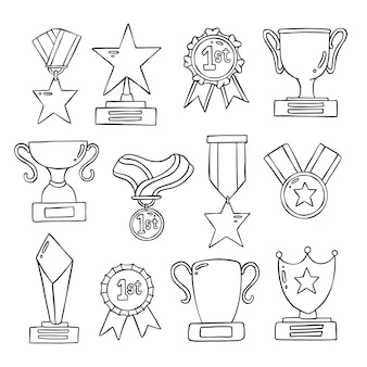 Satz von hand gezeichnete doolde medaille und trophäe