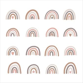 Satz von hand gezeichneten boho kindergarten regenbogen