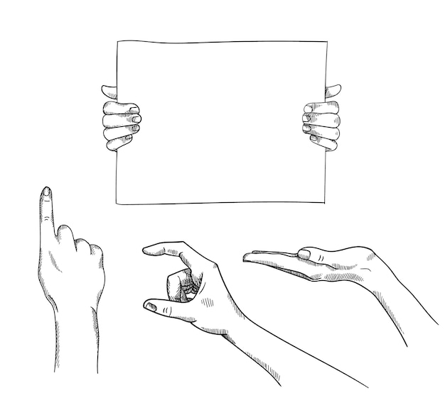 Satz von hand gezeichneten halte-, zeigerzeigerillustration. auf weißem hintergrund isoliert. verwendung für anzeige, produktpräsentation, banner