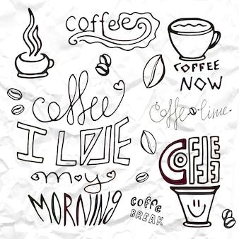 Satz von hand gezeichneten kaffee designelemente, vektor-illustration