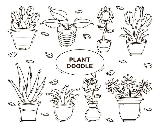 Satz von hand gezeichneten kawaii pflanzenkarikatur-gekritzel-designfärbung