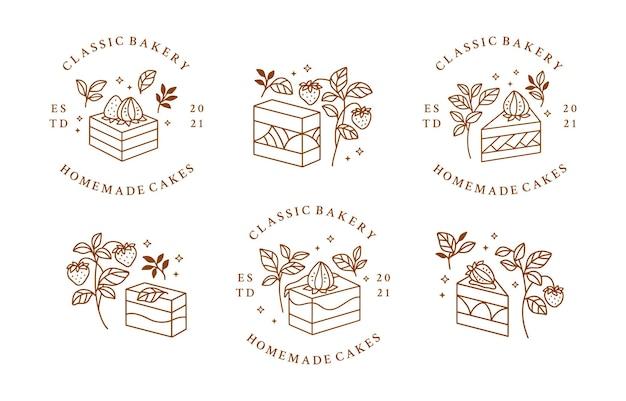 Satz von hand gezeichneten kuchen, gebäck und bäckerei logo