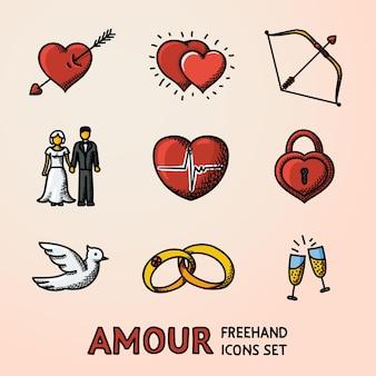 Satz von hand gezeichneten liebes-amour-ikonen mit herz mit pfeil zwei herzen amorbogenpaare
