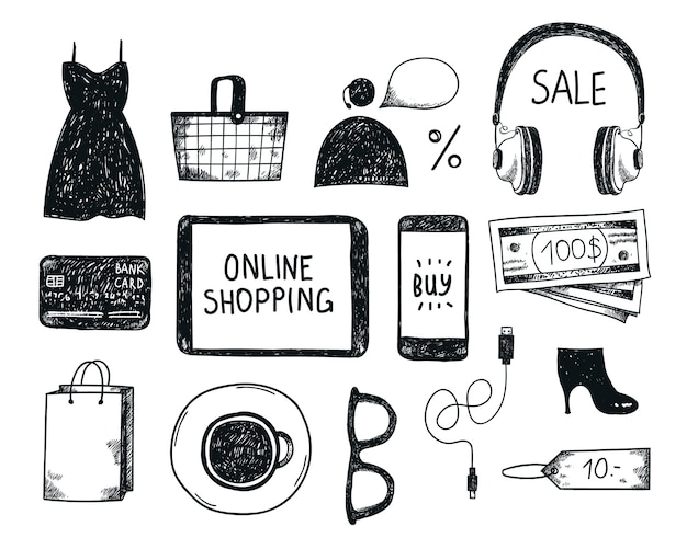 Satz von hand gezeichneten online-einkaufsobjekten, illustration, ikonen. banner, plakat, karte schwarzweiss