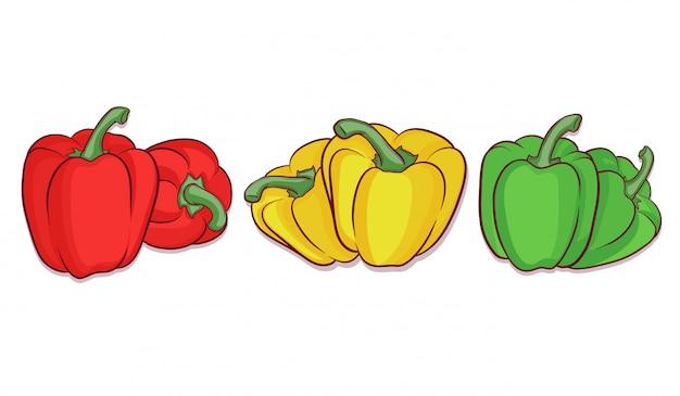 Satz von hand gezeichneten paprika