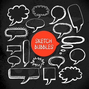 Satz von hand gezeichneten skizzen-doodle-blasenrahmen. vektor-illustration. tafeldesign