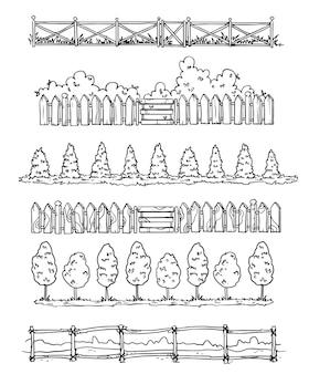 Satz von hand gezeichneten trennwänden im landhausstil, vektorskizze