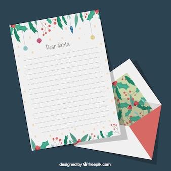 Satz von hand gezeichneten vorlagen von weihnachten brief mit einem umschlag