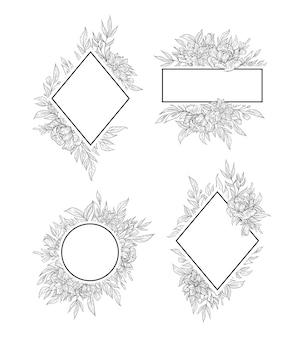 Satz von hand gezeichneter blumenrahmenrandumrissdekoration lokalisiert