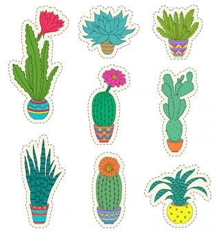 Satz von hand gezeichneter zimmerpflanze