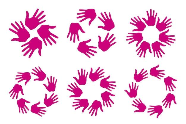 Satz von handdruck-kreissymbolen. handabdruck-embleme. handrunde abzeichen. vektorlogo