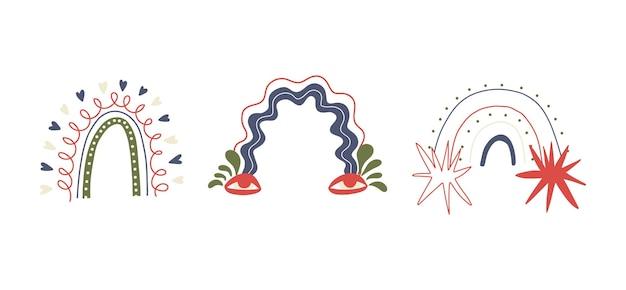 Satz von handgezeichneten abstrakten formen von trendregenbögen