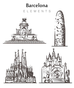 Satz von handgezeichneten barcelona-gebäuden