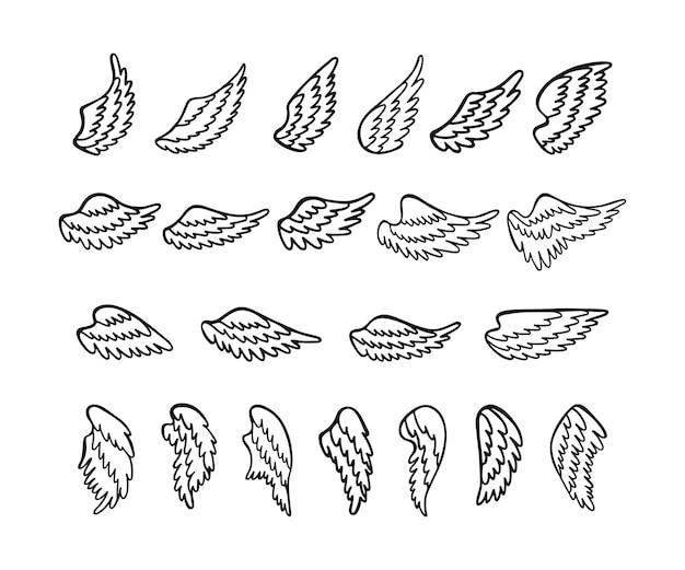 Satz von handgezeichneten engelsflügeln.