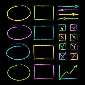 Satz von handgezeichneten kreidestillinien notieren objekte