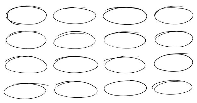 Satz von handgezeichneten ovalen wählen sie die rahmen des kreises ellipsen im doodle-stil aus
