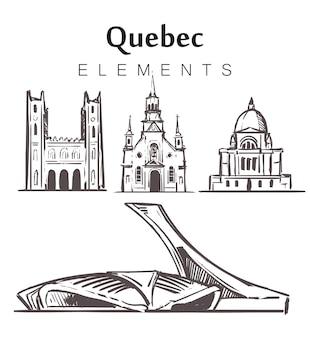 Satz von handgezeichneten quebec-gebäuden