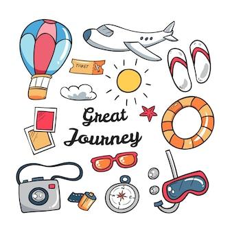 Satz von handgezeichneten reiselementen