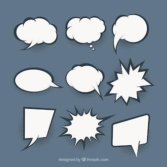 Satz von handgezeichneten sprechblasen