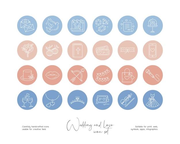 Satz von handgezeichneten strichzeichnungen für hochzeiten und liebesillustrationen für soziale medien oder branding
