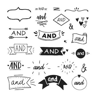 Satz von handgezeichneten 'und'-wörtern und kaufmännischen und-zeichen. vektor-illustration