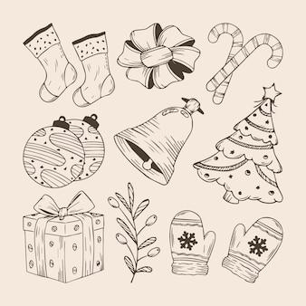 Satz von handgezeichneten weihnachtselementen