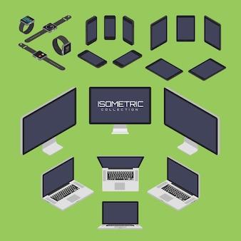Satz von handy, smartwatch, tablet, laptop, computer von vier seiten icon set vektorgrafik illustration. isometrische ansicht von vorne, hinten, rechts, links und oben.