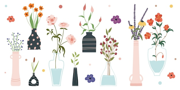 Satz von hellen frühlingsblüherblumen in den vasen und in den flaschen lokalisiert auf einem weißen hintergrund.