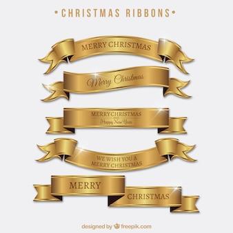Satz von hellen goldenen bändern des frohe weihnachten
