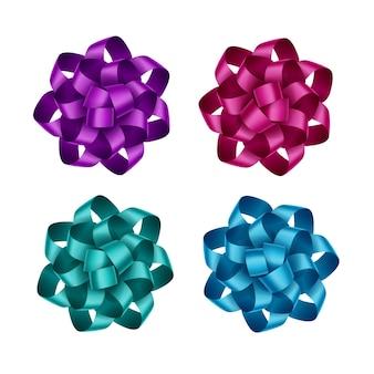 Satz von hellen lila magenta dunkelrosa hellblau azurblau smaragd geschenkband bögen nahaufnahme auf weißem hintergrund