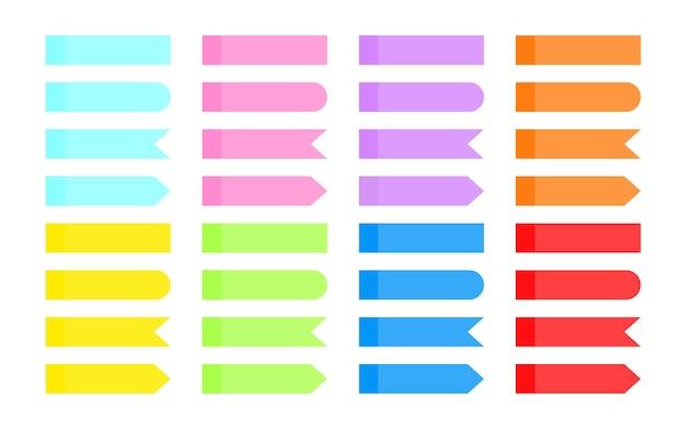 Satz von hinweisaufklebern bunt überlappende transparente klebeband-indexpfeil-flag-tabs verschiedene formen leere papierklebeband-lesezeichen isoliert auf weißer vektorillustration