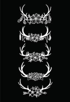 Satz von hirschgeweih mit floral geschnittenen dateien