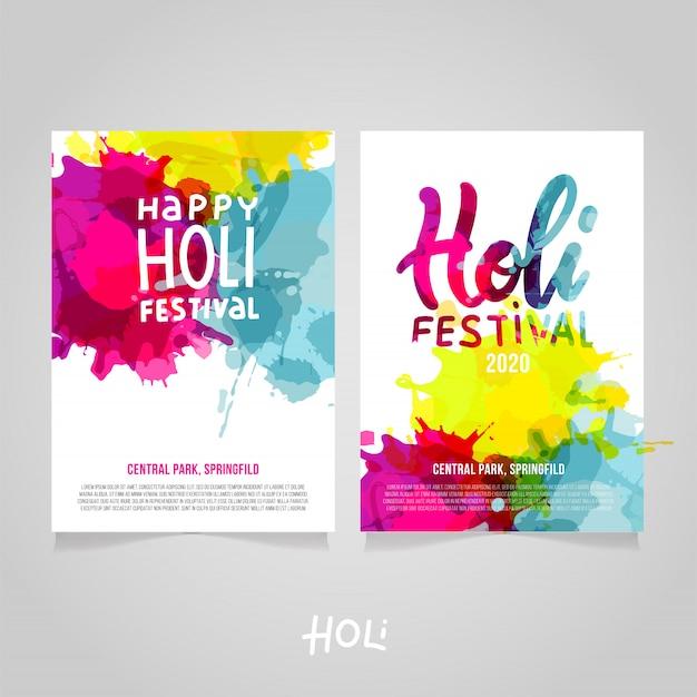 Satz von holi festival a4 s mit abstrakter bunter regenbogenfarbe spritzt. plakat-, broschüren-, fahnen- oder fliegerschablone mit beschriftung happy holi festival mit beispieltext