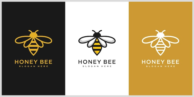 Satz von honigbienen-tiere-logo-vektor