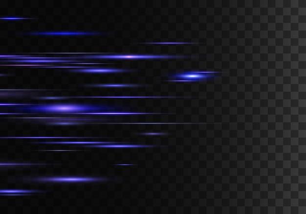 Satz von horizontalen farbstrahlenlinsenlinien laserstrahlen blauer lila abstrakter funkelnder transparenter hintergrund lichtfackeleffekt