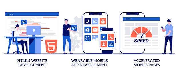 Satz von html5-website-entwicklung, tragbare mobile app, beschleunigte mobile seiten