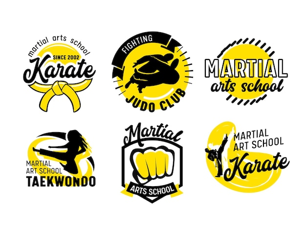 Satz von icons für martial arts school, banner oder etiketten mit kämpfern, faust und typografie isoliert auf weißem hintergrund. embleme für kampfklassen, boxkampfunterricht anzeige. vektorillustration
