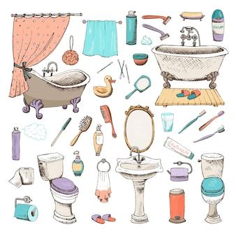 Satz von ikonen des badezimmers und der persönlichen hygiene