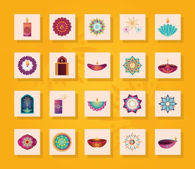 Satz von ikonen für indien-lichterfest