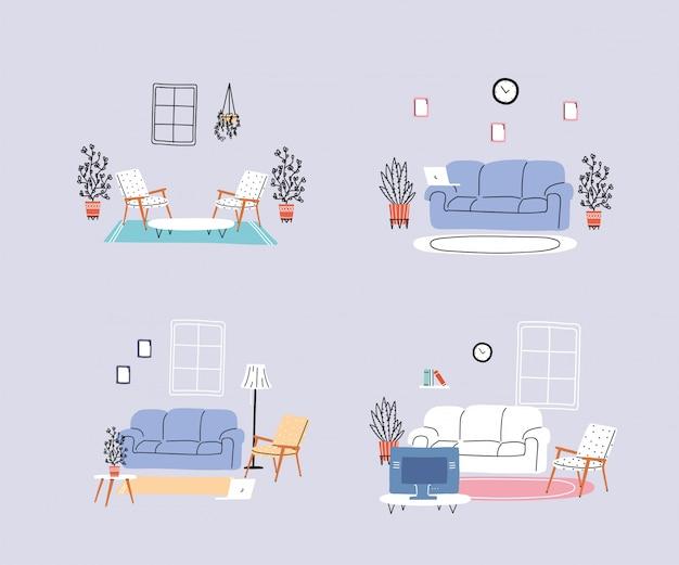 Satz von ikonen mit modernen wohnzimmern
