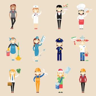 Satz von ikonen von mädchencharakteren in der berufskleidung mit einer doktorkellnerin, kochkochreinigerin, stewardess, polizistin, malerin, architektin, ingenieurin, handwerkliche geschäftsfrau und postfrau