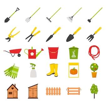 Satz von ikonen zum thema gartenarbeit und pflanzenanbau