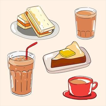 Satz von illustrationen kaffee toast sandwich frühstück vektor