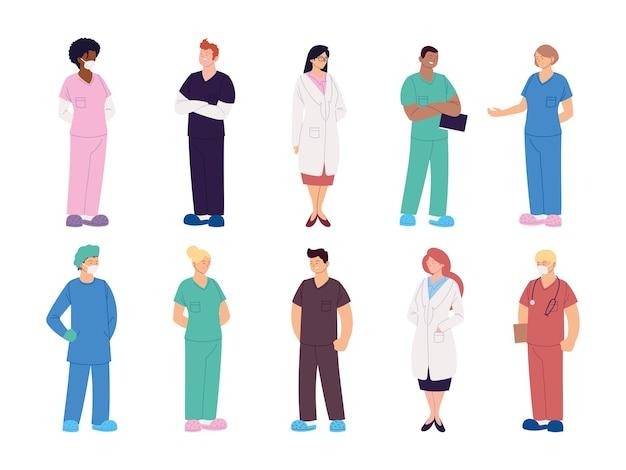 Satz von illustrationsdesign des gesundheitspersonals, der ärzte und der krankenschwestern