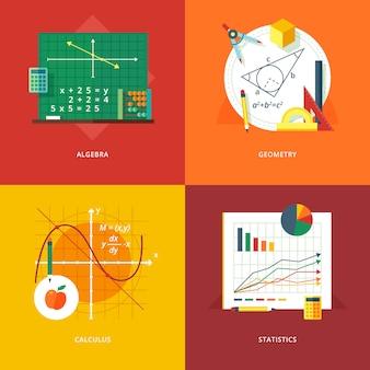 Satz von illustrationskonzepten für algebra, geometrie, kalkül, statistik. bildungs- und wissensideen. mathematik. konzepte für webbanner und werbematerial.