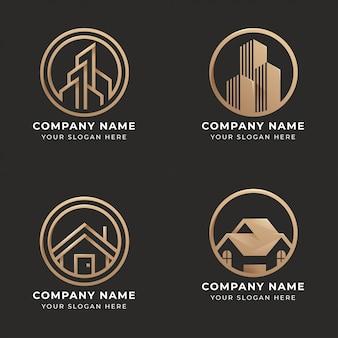 Satz von immobilien-logo-design