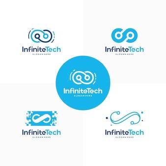 Satz von infinity technology-logodesigns konzeptvektor, pixel- und infinity-logoschablonensymbol-symbol