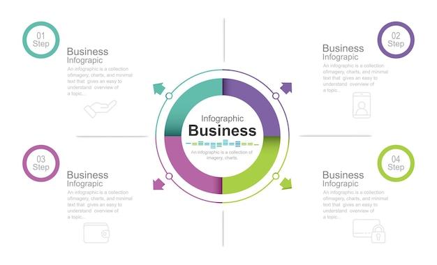 Satz von infografik-element stock illustration infografik nummer 4 kreisschritte teil von