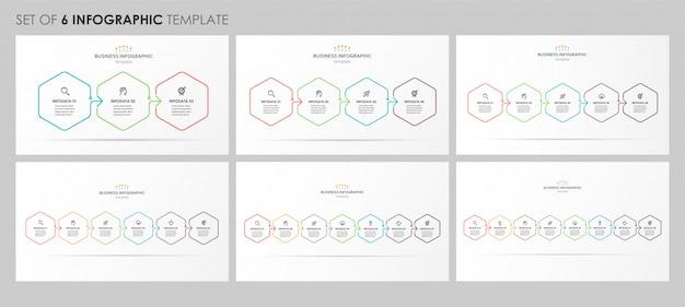 Satz von infografik lineares design mit symbolen und 3, 4, 5, 6, 7, 8 optionen oder schritten. unternehmenskonzept.