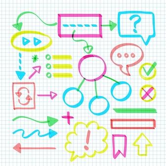 Satz von infografikelementen der schule in verschiedenen farben